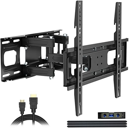 Full Motion Tv Wall Mount With Height Setting Juststone Tv Bracket Fits Most 27 65 Inch Led Flat Amp Curved Full Motion Tv Wall Mount Wall Mounted Tv Tv Wall