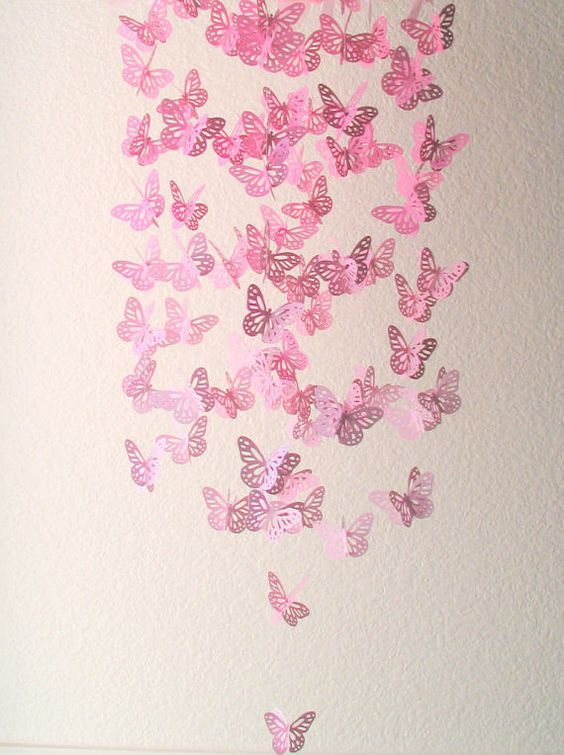Pink Butterfly Chandelier- Butterfly Chandelier Mobile,Butterfly Mobile,Nursery Mobile,Baby Girl Mobile