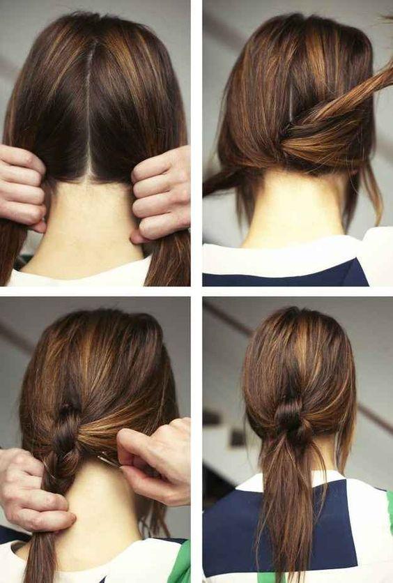 Divida o cabelo em duas partes, dê alguns nós, prenda com grampinhos, arrase.