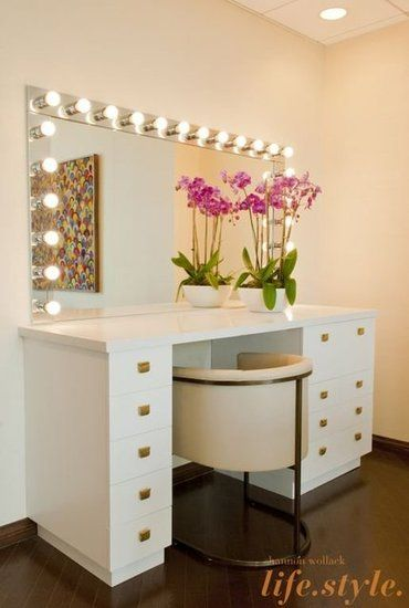 Modern but also slightly retro in feel, the sleek custom vanity pairs perfectly with the leather-upholstered Arteriors chair.: