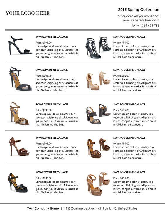 Line Sheet, Wholesale Catalog template, mini product brochure ...