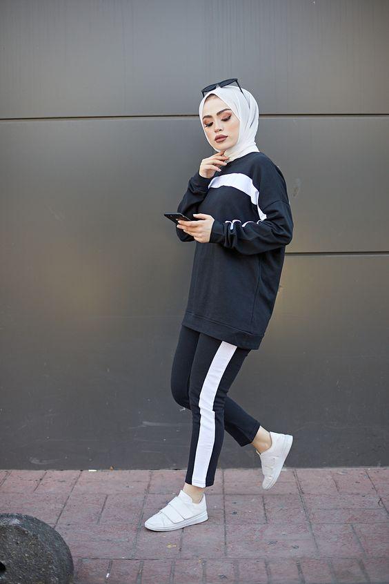 Garnili Tunik Pantolon Tesettur Takim Siyah 2020 Tunik Pantolon Moda