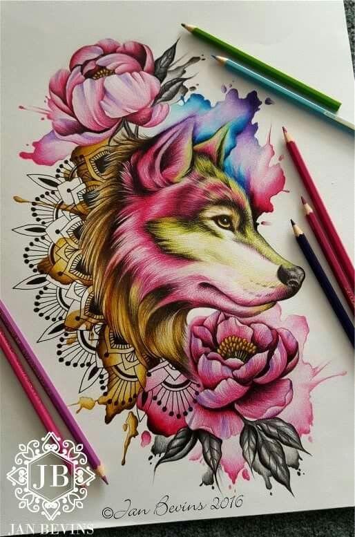 Idee Pour Tigre Blanc Sans Walter Color Fleurs Qui Font Le Suivi Avec Le Haut Du Bras Wolftattooideas With Images Wolf Tattoos Wolf Tattoo Design Wolf Tattoo