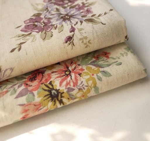 Tissu japonais en lin et coton fleuri jaune rouge 110*50 cm : Tissus Habillement, Déco par yoshiiii