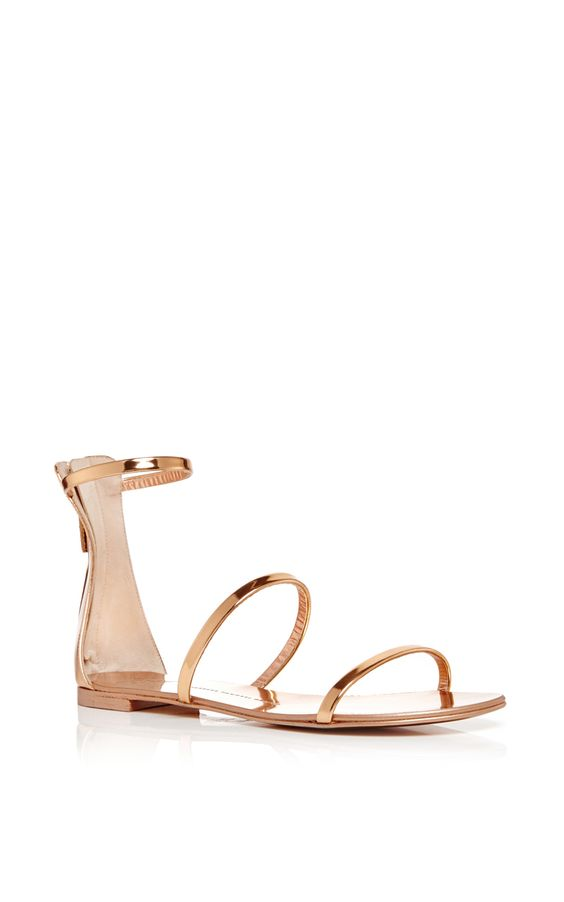 Mirrored Calf Leather Nuvo Rock Triple Strap Sandals by GIUSEPPE ZANOTTI Now Available on Moda Operandi