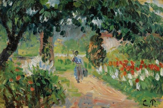 Camille Pissarro - L'allée du jiardin d'Eragny, c. 1899 #arte