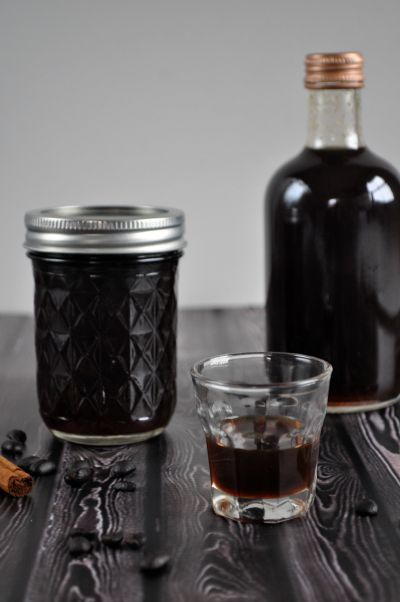 This homemade spiced coffee liqueur takes barely any prep time at all, just a little patience. It's super tasty over ice, or try it poured over a mud cake.