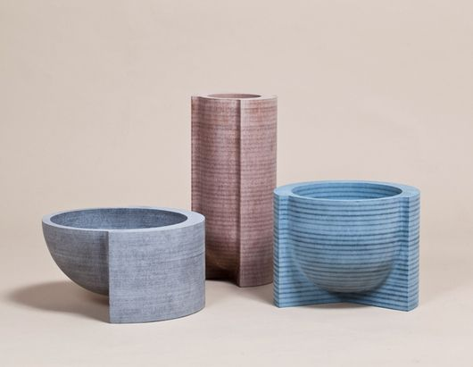 Vessels made from lathe-turned MDF stacks by Philippe Malouin, on sightunseen.com: