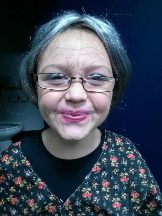 Old lady make up I did for her | Old people costumes for Halloween ...