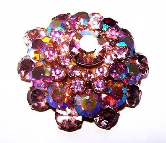 """Warner Brooch Pin Pink Lilac Rhinestones Domed 4 Tiers Gold Metal 1 3/4"""" Vintage"""