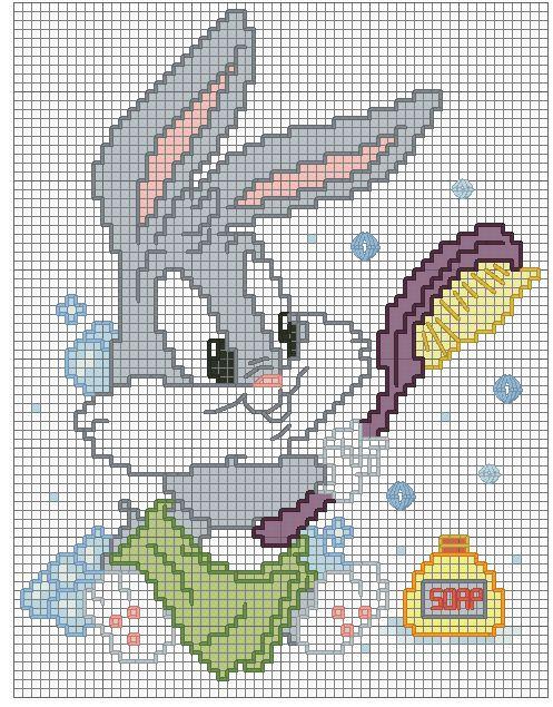 Schema baby bugs bunny bagnetto punto de cruz for Punto croce bagnetto