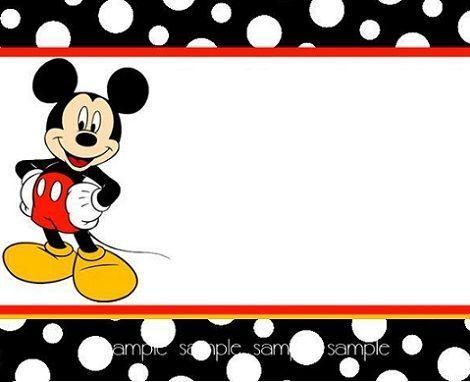 Resultado De Imagen Para Tarjetas De Invitacion De Mickey