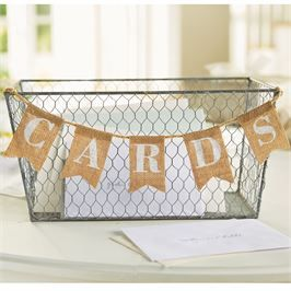 Cute burlap and wire wedding card holder! Great for rustic chic or country weddings