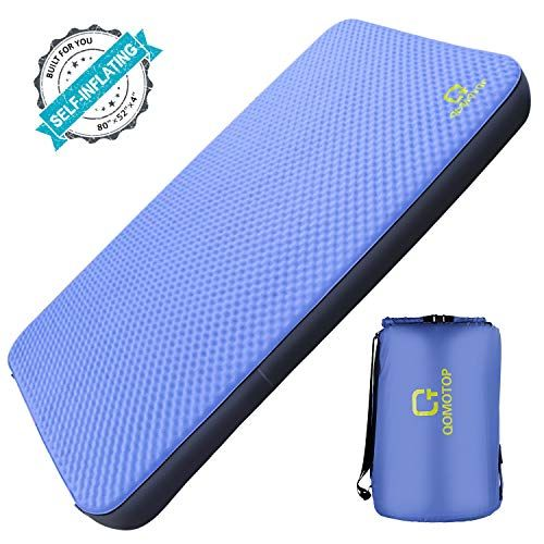 Qomotop Single Double Self Inflating Camping Mattress 80 28 Single 52 Double 4 Inches Thick Pu Foam Portable Roll Up Sleeping Pad Single 7 5 Lbs In 2020 Sleeping Pads Camping Mattress