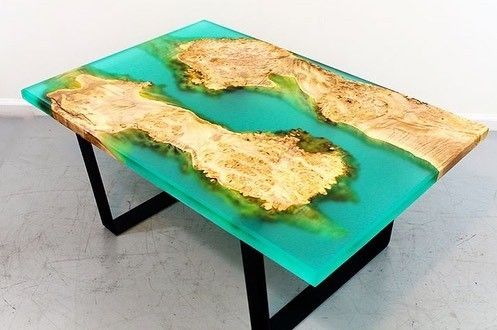 Frosted Turquoise Color Epoxy Table Epoxy Resin