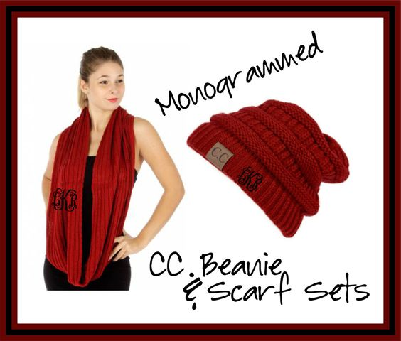 Monogrammed CC Beanie and Scarf Sets - Embroidered Gift by DesignsbyDaffy on Etsy