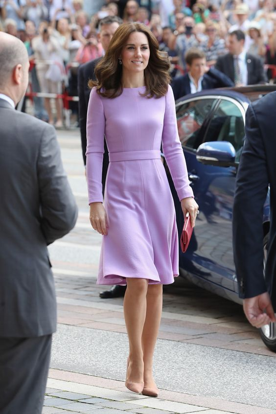 Kate Middleton looks stunning in dress by Emilia Wickstead, pumps by Gianvito Rossi and lavender amethyst earrings by Kiki McDonough while visiting the Maritime Museum in Hamburg, Germany.