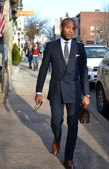 Double-breasted navy suit, walnut shoes. | Men's Style | Pinterest