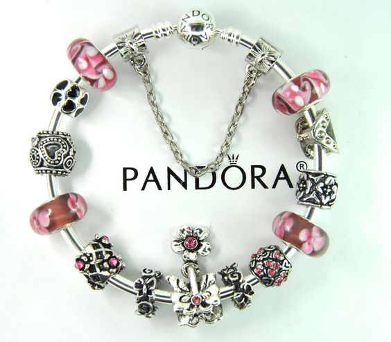 Authentic pandora silver bangle bracelet with european charm beads flower pink #Pandoralobsterbangleclaspclaw #Europeananimalheartsafetychainbutterfly