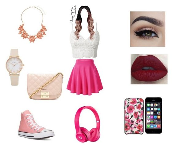 """""""Cute look(made by my cousin)"""" by magconisbae2006 ❤ liked on Polyvore featuring mode, Converse, Kate Spade, Dorothy Perkins, Apple et Forever 21"""
