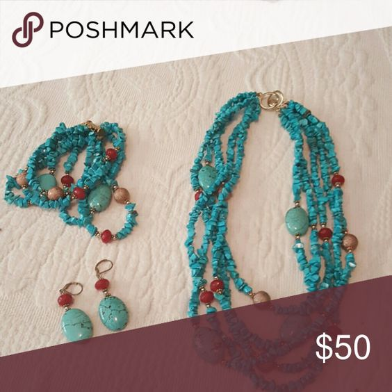 Selling this Turquoise necklace with matching earnings and brac on Poshmark! My username is: garfield10. #shopmycloset #poshmark #fashion #shopping #style #forsale #Jewelry