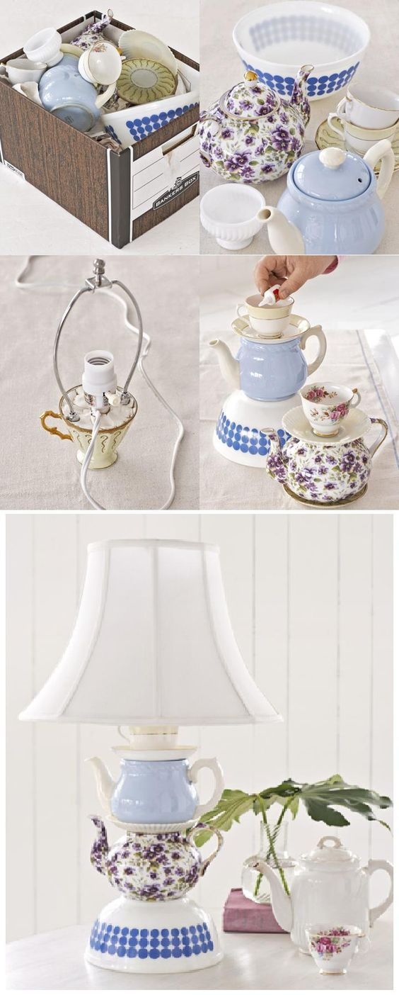 Clever use for mismatched china! Fun! #upcycle #diy: