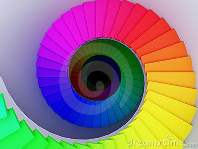 Colorful spiral stair to the infinity. by Andrey Navrotskiy, via Dreamstime