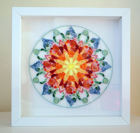 Quilling art love mandala colourful paper art wall art for Deco quilling