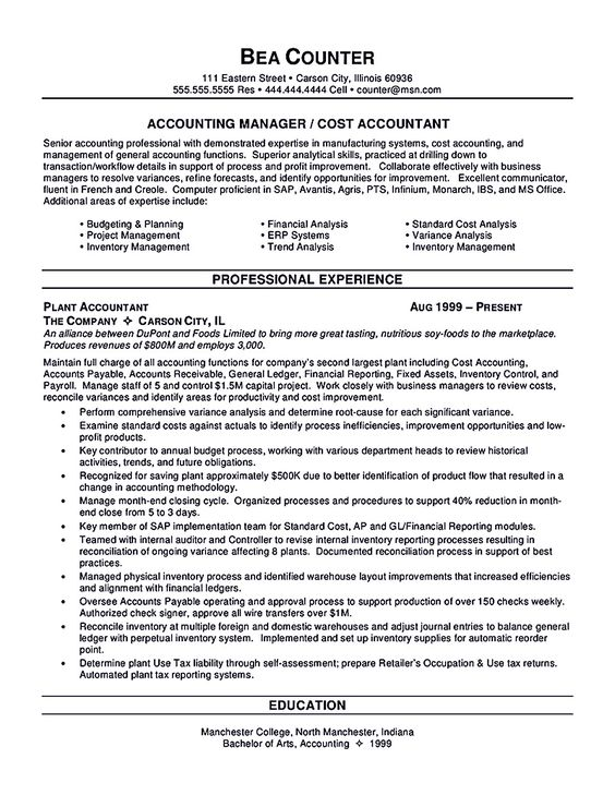 Senior Sales Manager Resume - Industry Career Change Resume - cost accounting resume