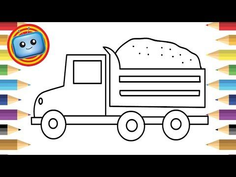 How To Draw A Truck Colouring Book Simple Drawing Game Animation Youtube Painted Rocks Kids Easy Drawings Coloring Books