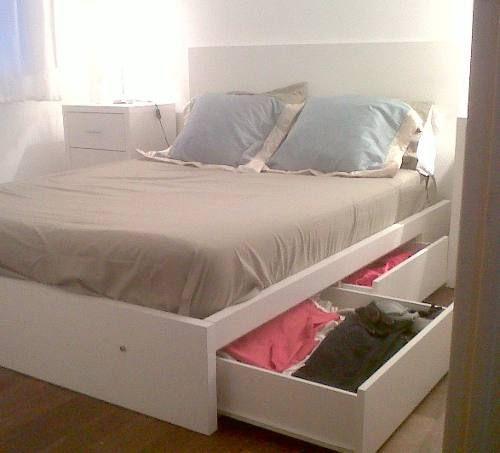 Total zeta cama 2 plazas con 4 cajones melamina blanca for Cama 3 plazas medidas