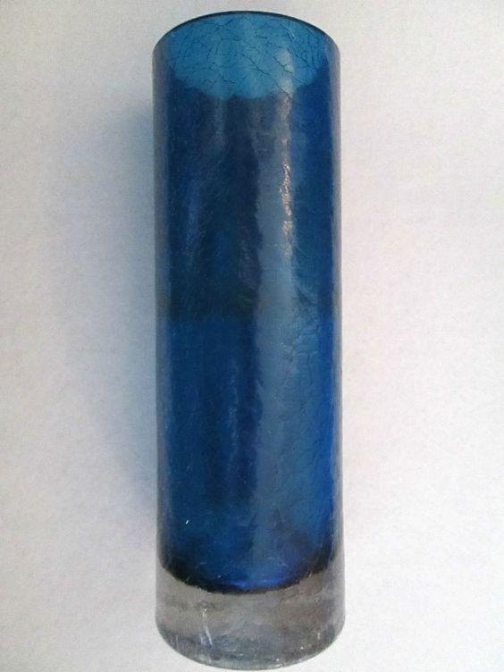 Alwe ? Kristallglas Glas Vase Krakelee Craquelé Crackled Glass Blau Unterfang