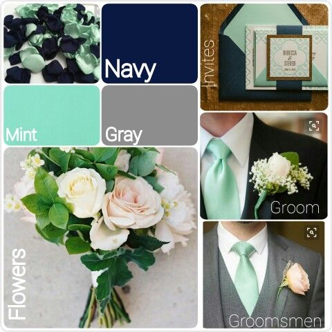 Mint, navy and gray wedding theme. Inspiration for a modern romantic wedding.