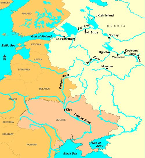 European River Map Dnieper and Volga Rivers in Russia and Ukraine