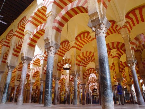 Mosque of Cordoba, Spain, sadly ruined by a great big tasteless cathederal plonked in the middle, but still a beautiful place to visit.