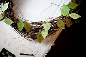 Paper leaves on clothespins as table assignments :)
