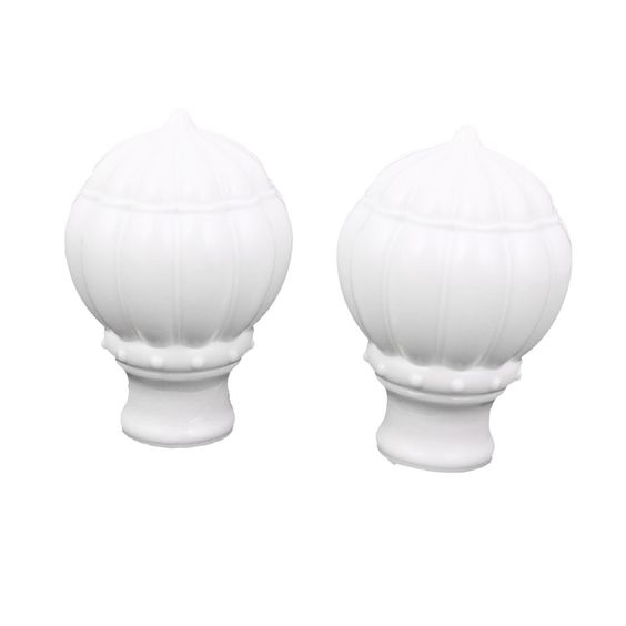 27mm Dia Round Drapery Curtain Rod Ends Caps Finials White 2pcs ...