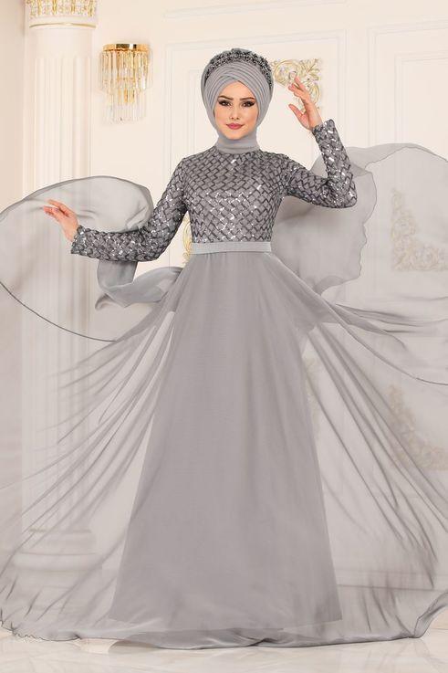 Modaselvim Abiye Pul Payetli Sifon Abiye 8127d170 Gumus Kiyafet Elbiseler Sifon Elbise