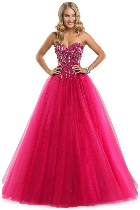 Traditional Fuchsia Floor-Length Sweetheart Organza Lace-up Ball Gown Prom Dress