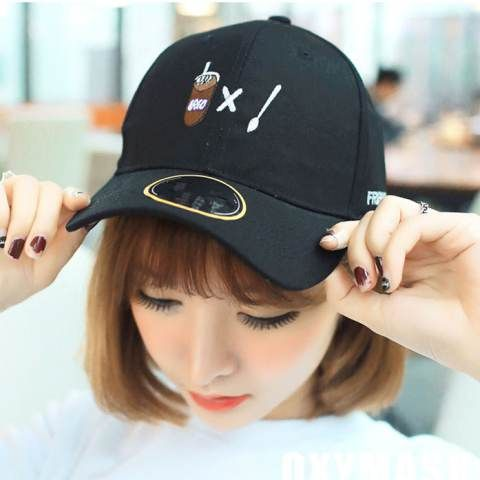 Fashion coffee embroidered baseball cap for women black sun protection hats