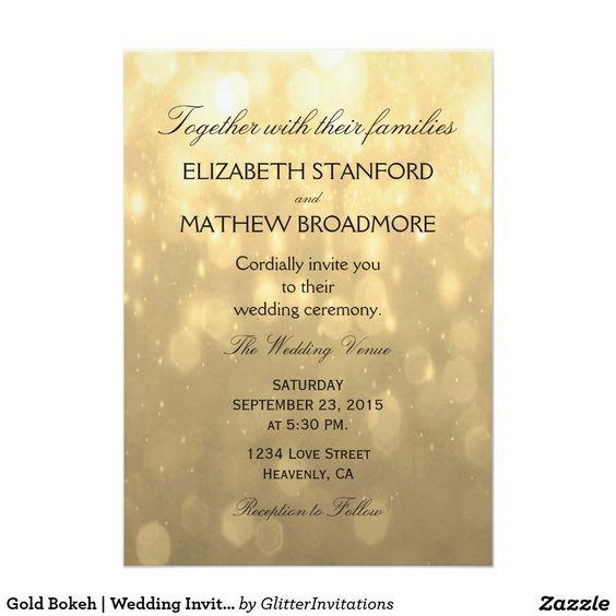 gold bokeh wedding invitation wedding invitation rsvp save