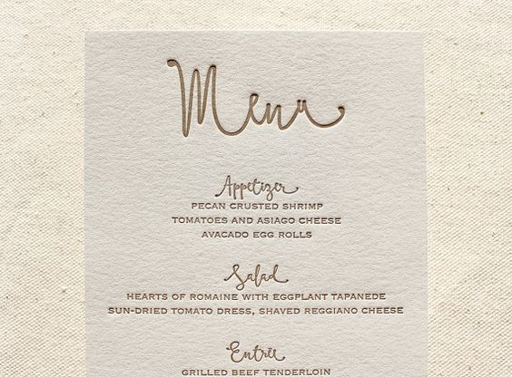 These letterpress menus are printed on Cranes Lettra 110# 100% cotton paper with a circa 1893 Chandler and Price Platen Press