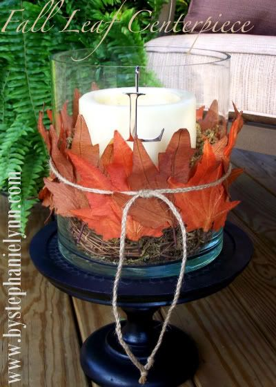 Fall leaf center piece... change out the bottom for a round wood board n thicker twine.