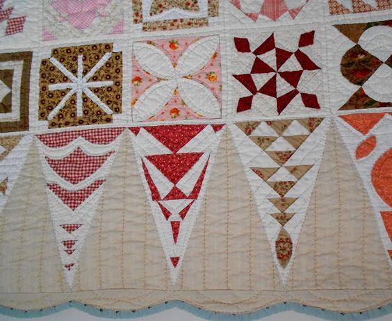 close up, Dear Jane quilt by Ingrid van der Harst-Govers (The Netherlands)