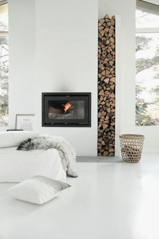 Wood column - great texture and color amidst crisp white interioer