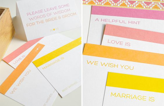 Free printable guest book advice cards.  This is so cute.