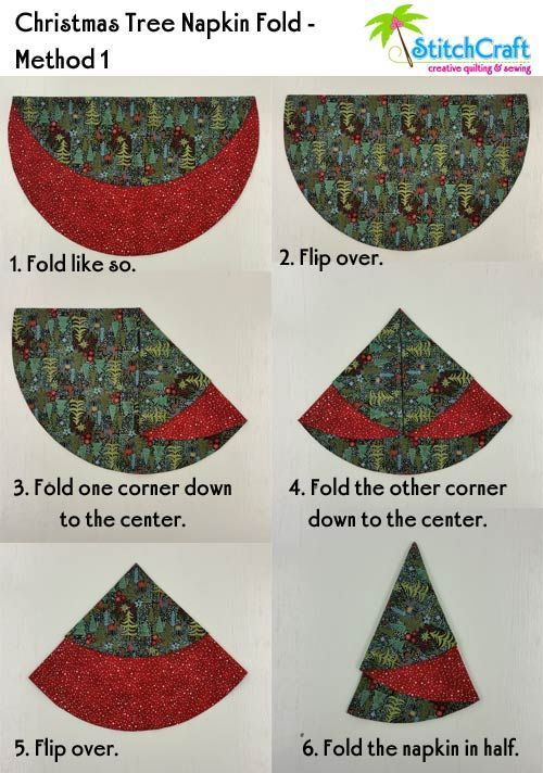 Christmas Tree Circular Napkins Are So Quick And Easy That We Thought We D Share A Christmas Tree Napkin Fold Fabric Christmas Ornaments Christmas Tree Napkins