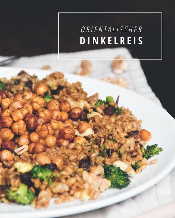 Orientalischer Dinkelreis mit Datteln und gebackenen Kichererbsen  www.juyogi.com