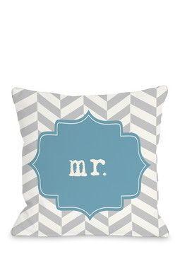 """Mr. Chevron Blue 18"""" x 18"""" Zipper Pillow"""