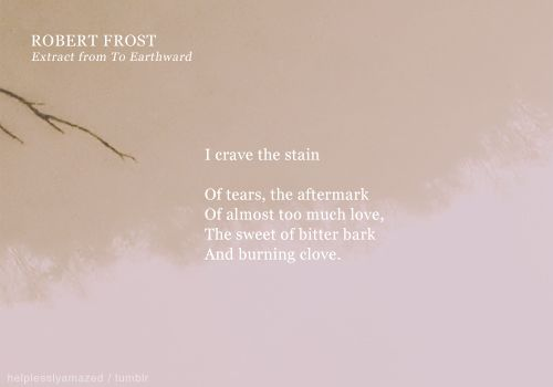 An analysis of earthward by robert frost